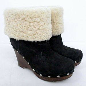 UGG Black Oiled-Suede & Shearling Clog Bootie~7